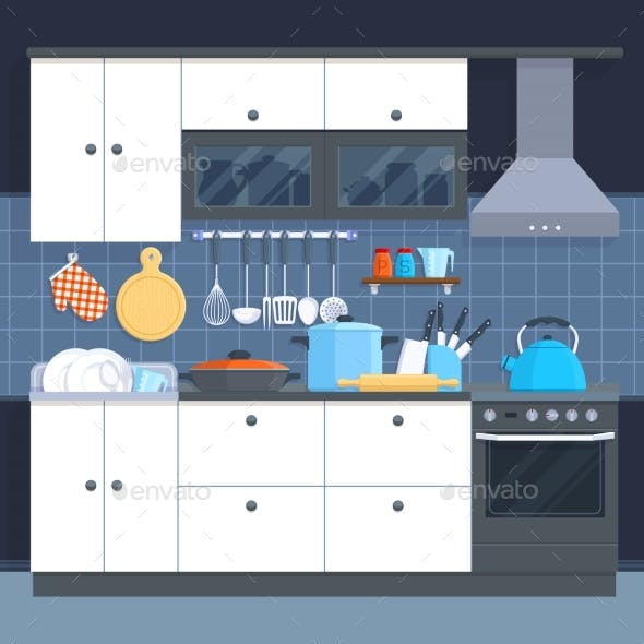 Kitchen Home Interior with Oven and Kitchenware