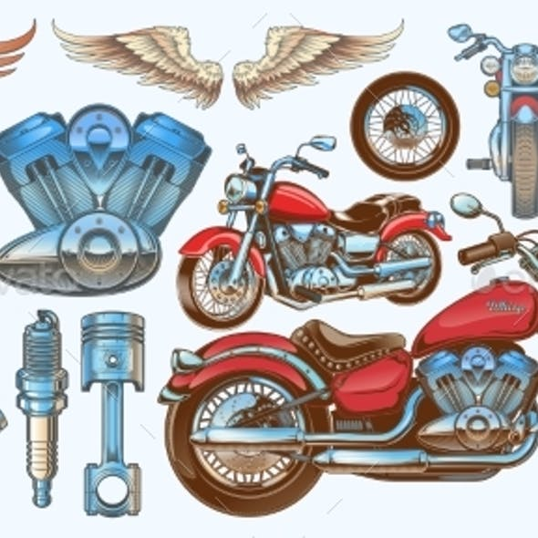 Set of Vector Illustrations, Icons of Vintage