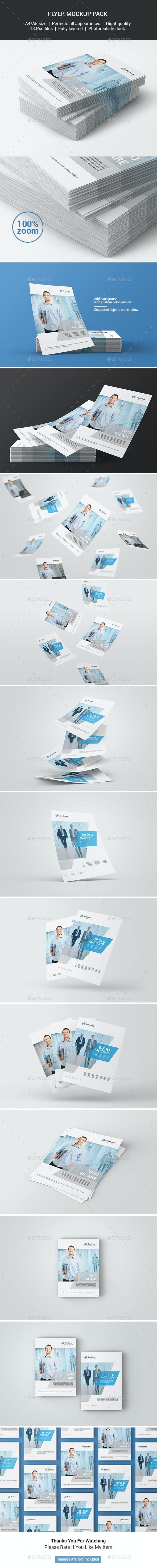 A4 / A5 Flyer Mockup Pack - Print Product Mock-Ups