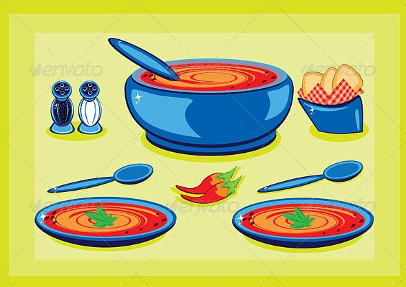 Big cooking pot and a plate with soup  - Man-made Objects Objects