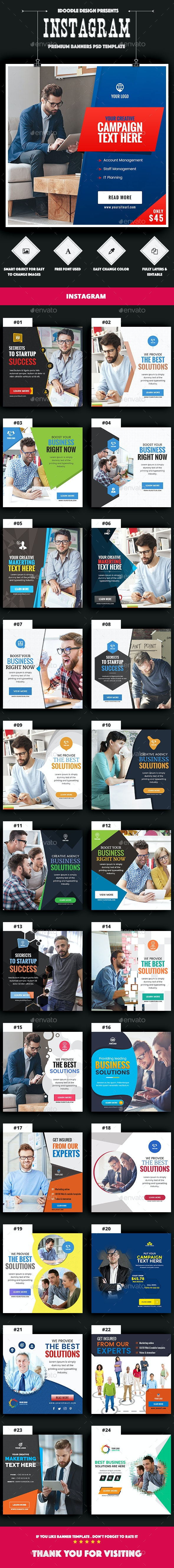 Multipurpose, Business, Startup Instagram Banners Ad - 25PSD - Banners & Ads Web Elements