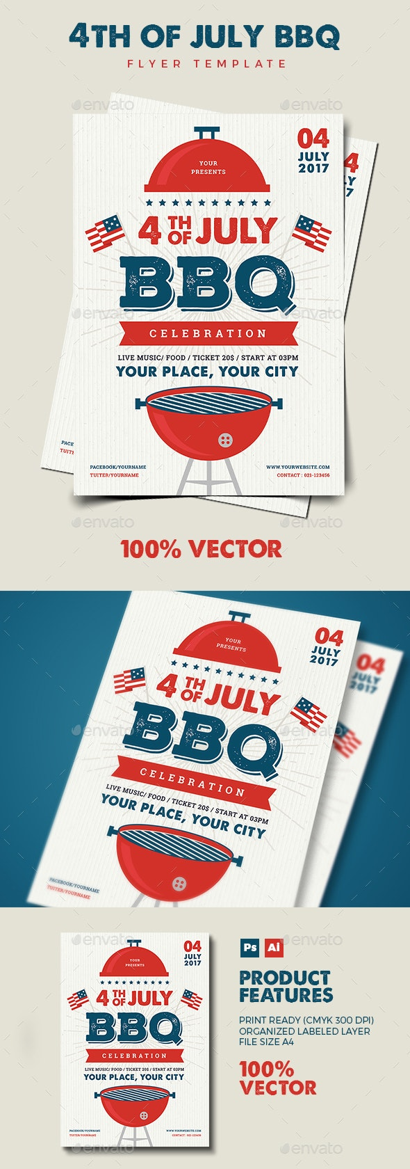 4th July BBQ Flyer - Holidays Events