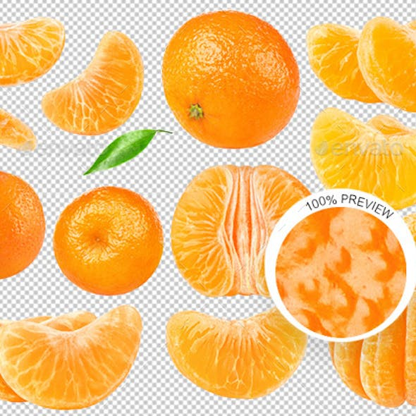 Collection of Isolated Tangerines