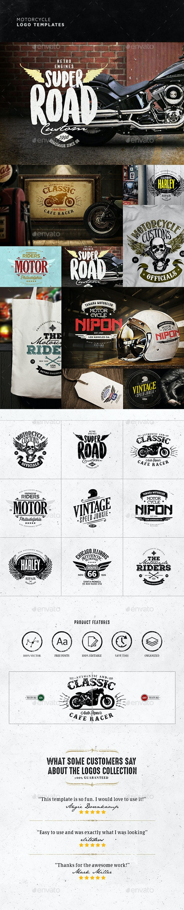 Motorcycle Logo Templates - Badges & Stickers Web Elements