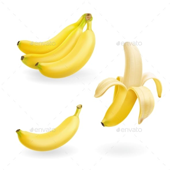 Banana Fruit Set Vector Realistic Icons