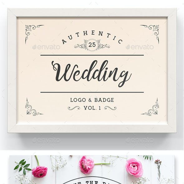 Authentic 25 Wedding Logo & Badge Vol. 1