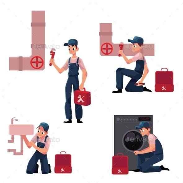 Plumbing Specialist at Work Repairing Sewage