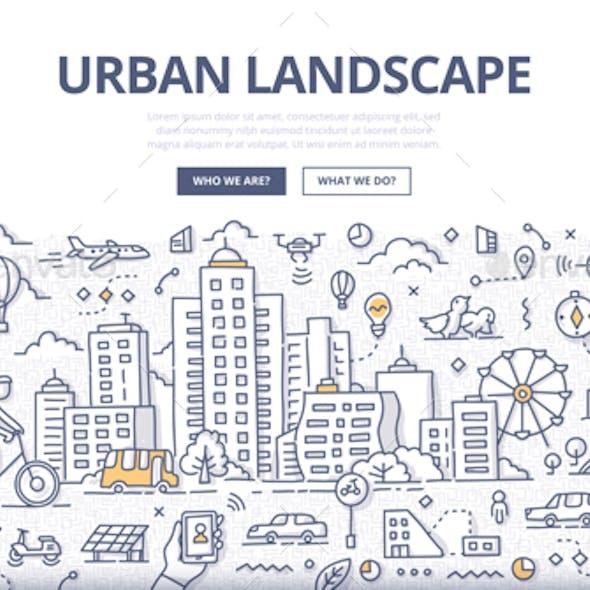 Urban Landscape Doodle Banner