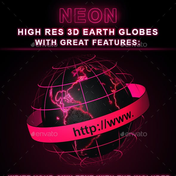 Neon Earth Globes in 3D
