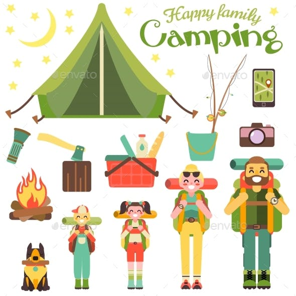 Happy Family Go Camping. Vector Illustration.