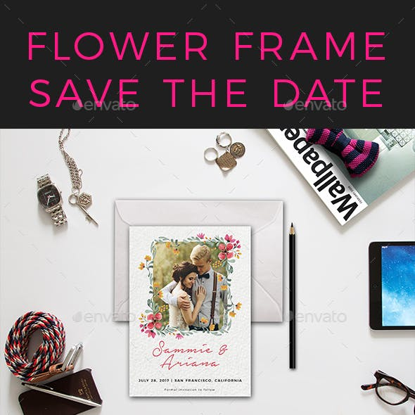 Flower Frame Save The Date Postcard [ tosca ]