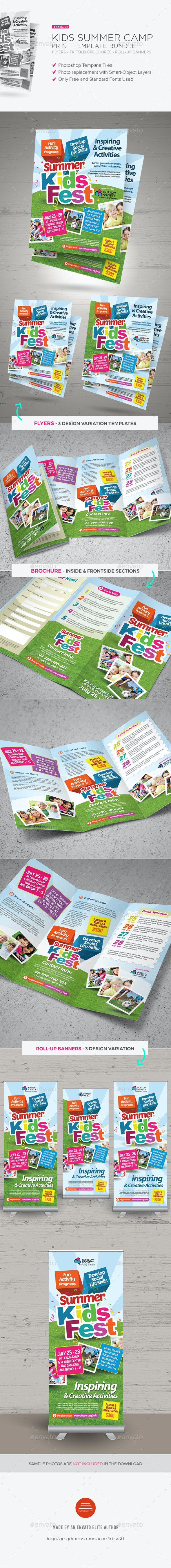 Kids Summer Camp Print Bundle - Brochures Print Templates