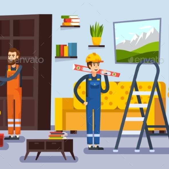Home Renovation Workmen Flat Poster