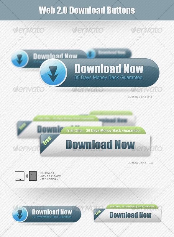 Web 2.0 Download Buttons - Miscellaneous Web Elements