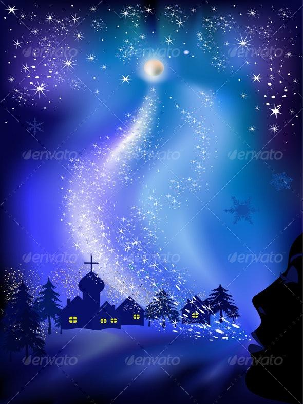 Christmas landscape - Backgrounds Decorative