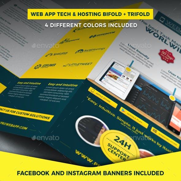 Web App Tech and Hosting Brochure Templates (Bifold + Trifold)