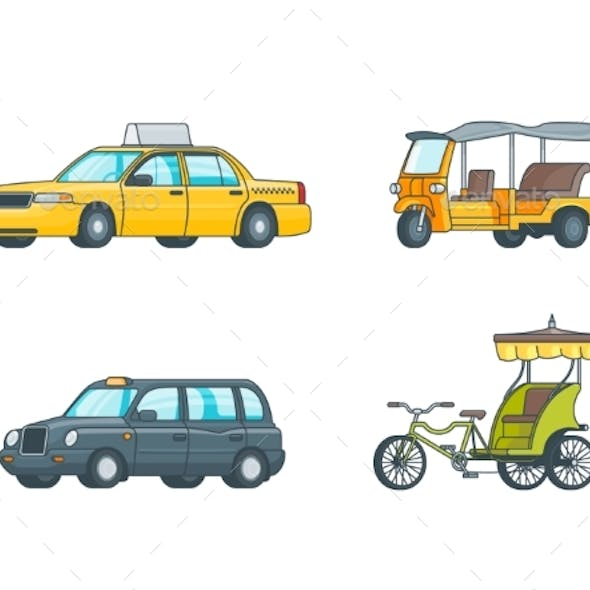 Colorful Taxi Transport Collection
