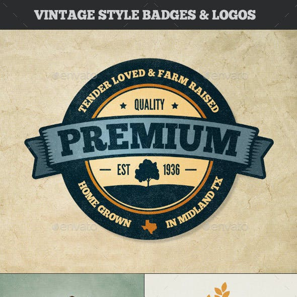 Vintage Style Badges and Logos - Colored Vol 3