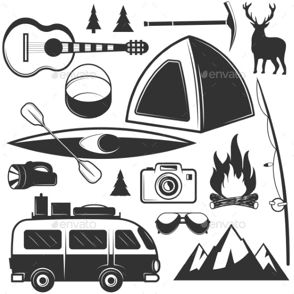 Set of Camping Objects Isolated on White