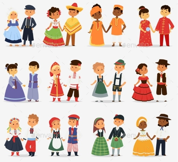 Lttle Kids Children Couples Character of World - People Characters