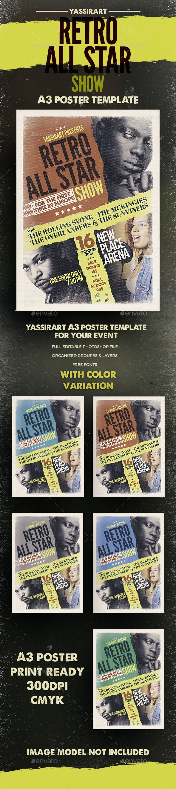 A3 Retro Music Band Poster Template - Clubs & Parties Events