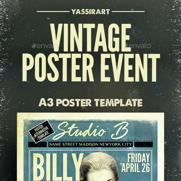 A3 Vintage Poster Event Template