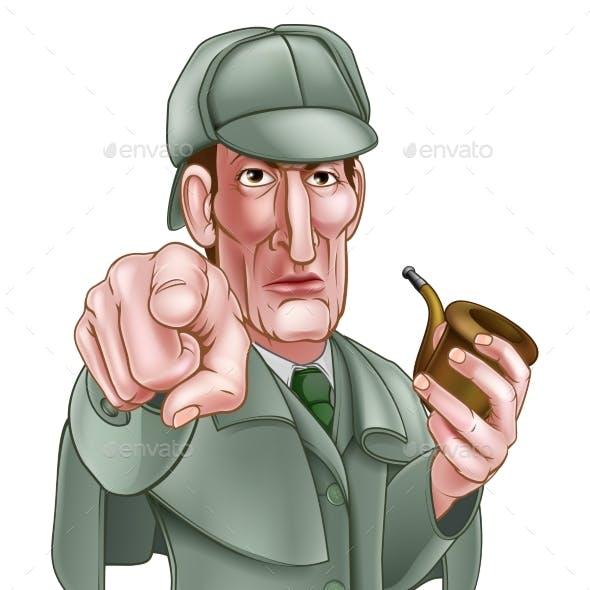 Pointing Sherlock Holmes Cartoon