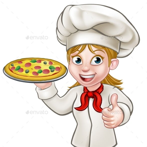 Female Pizza Chef Cartoon Character