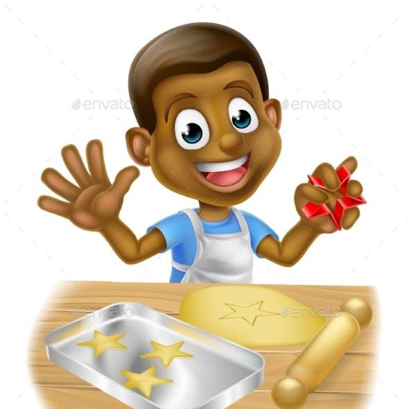 Cartoon Boy Baking Cookies
