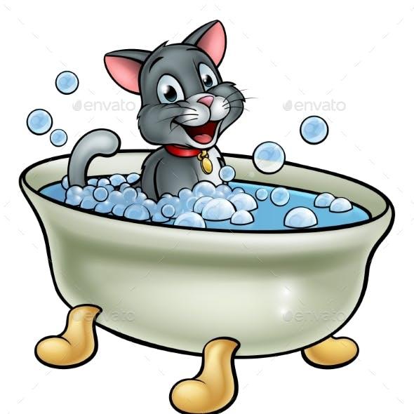 Cartoon Cat Washing in the Bath