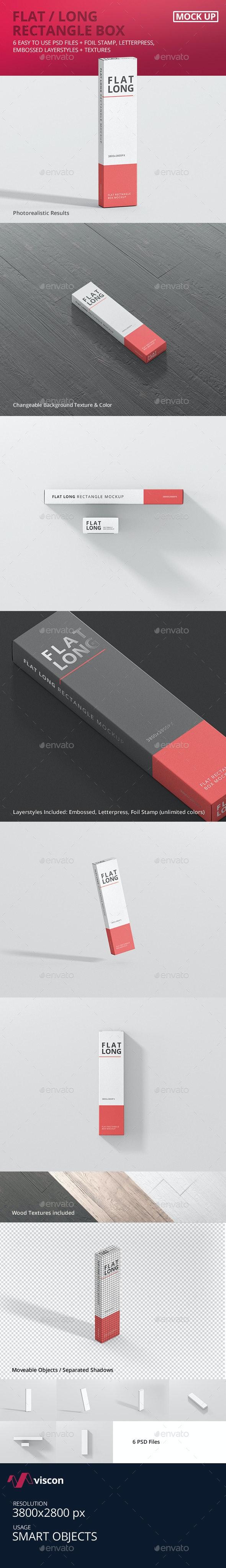 Box Mockup - Flat Long Rectangle - Miscellaneous Packaging
