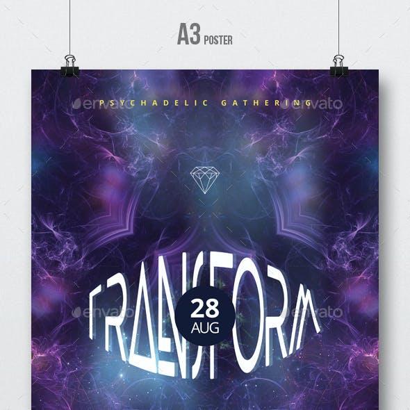 Transform - Psytrance Flyer / Poster Artwork Template A3