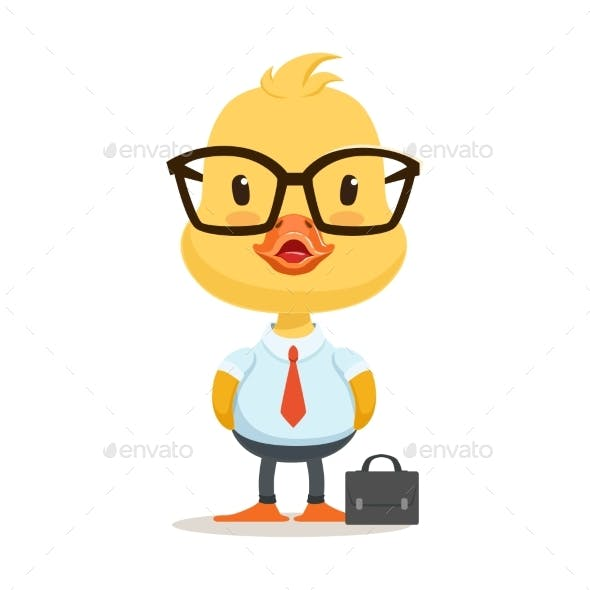 Little Cartoon Duckling Character Wearing Glasses