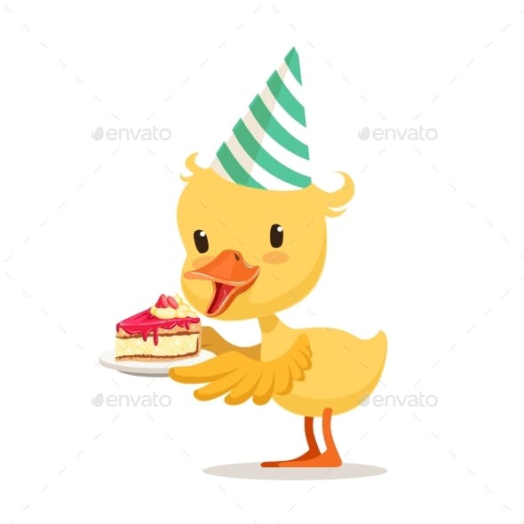 Little Cartoon Duckling in a Party Hat