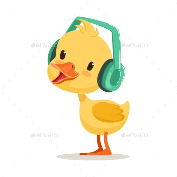 Yellow Duck Chick Listening To Music