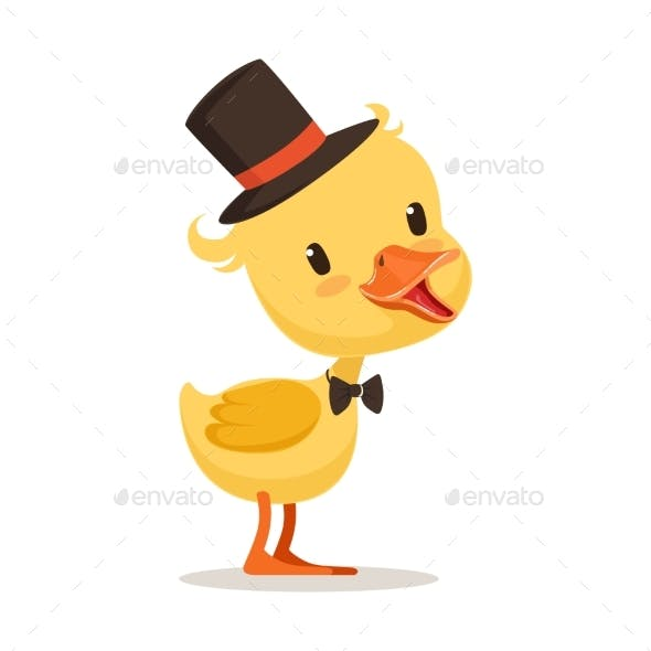 Yellow Duck Chick in Top Hat and Bow Tie