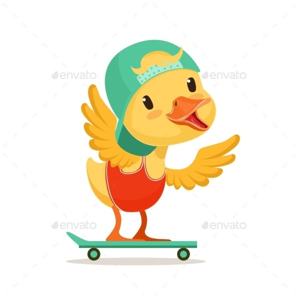 Yellow Duck Chick in Blue Cap Skateboarding