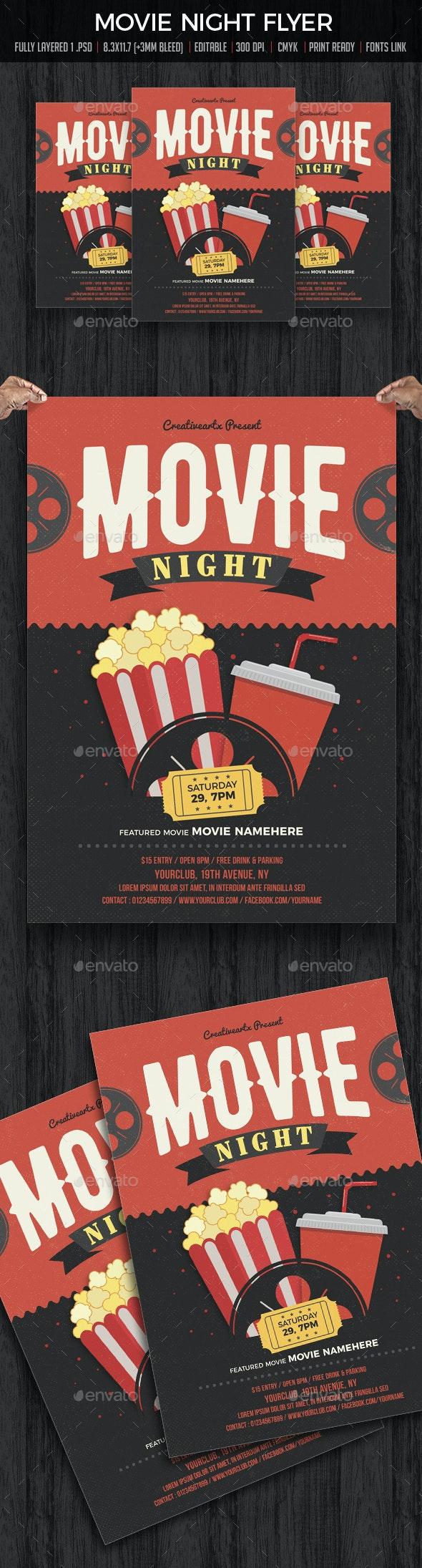Movie Night / Movie Time Flyer - Flyers Print Templates