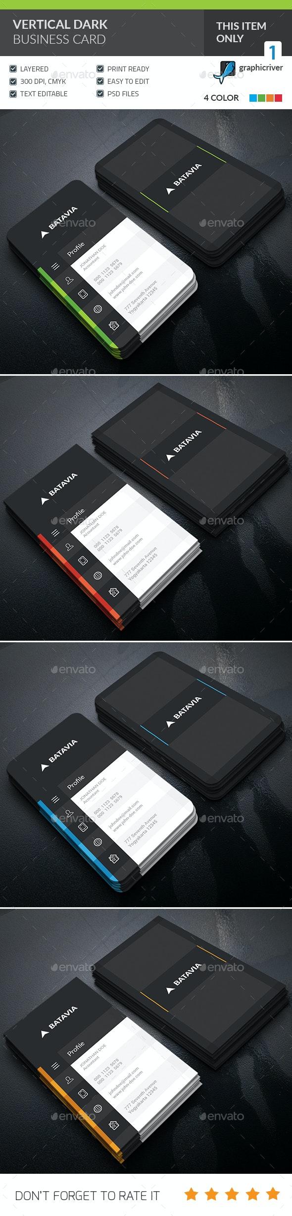 Dark Vertical Business Card - Corporate Business Cards