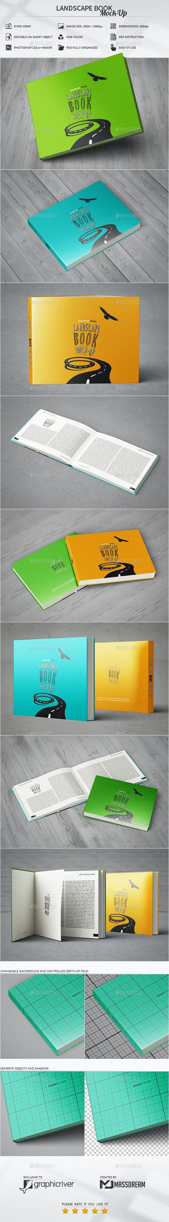 Landscape Book Mock-Up - Miscellaneous Print