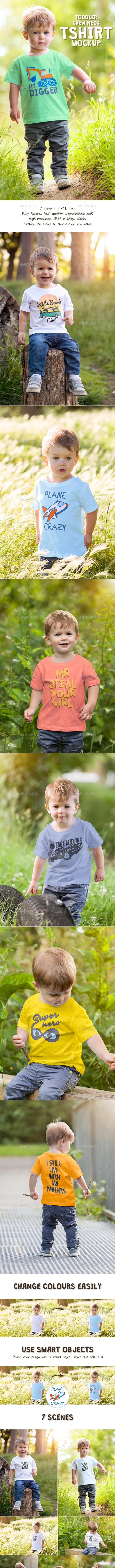 Toddler Boy Crew Neck T-shirt Mock-up - T-shirts Apparel