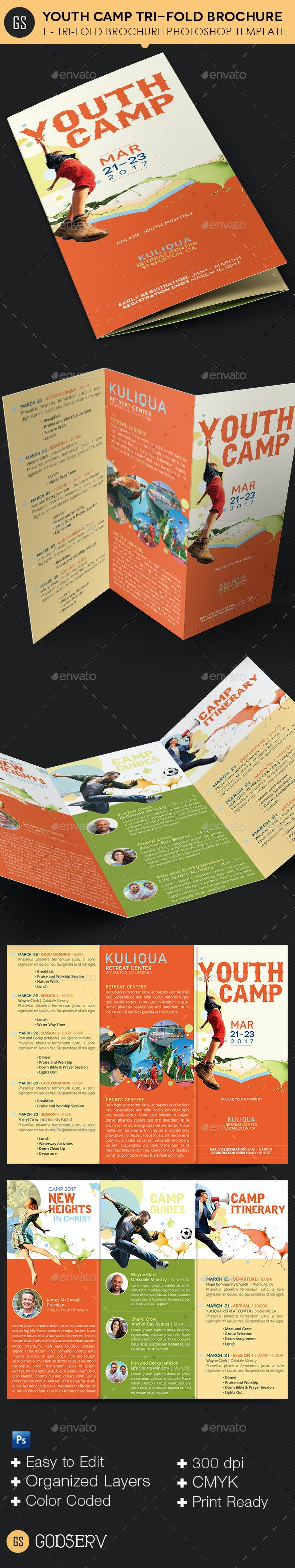 Youth Camp Tri-Fold Brochure Template - Informational Brochures