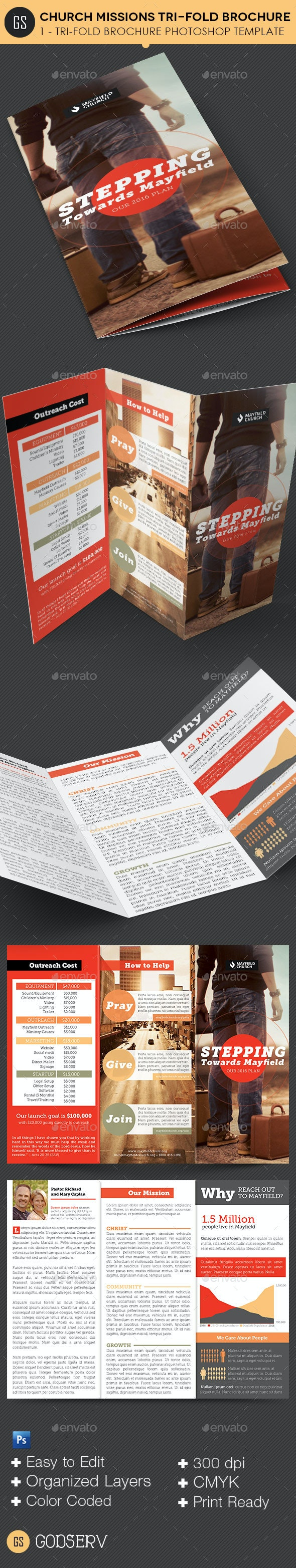Church Missions Tri-Fold Brochure Template - Informational Brochures