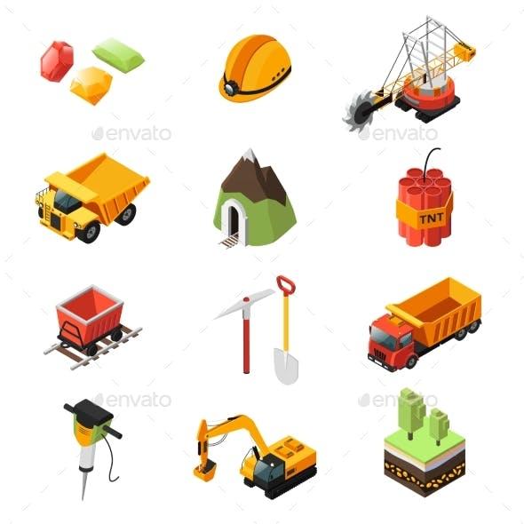 Isometric Mining Industry Elements Set