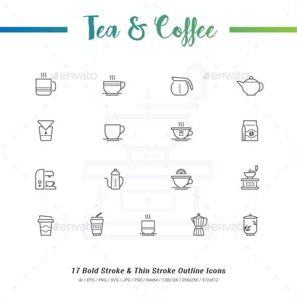 17 Tea&Coffee Outline Stroke Icons