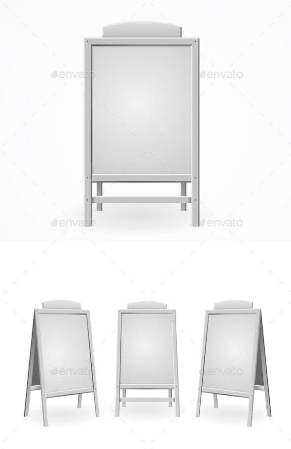 Realistic Template Blank White Menu Board Set. Vector - Objects Vectors