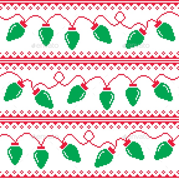 Ugly Christmas Sweaters Patterns.Christmas Tree Lights Seamless Pattern Ugly Christmas Sweater Style