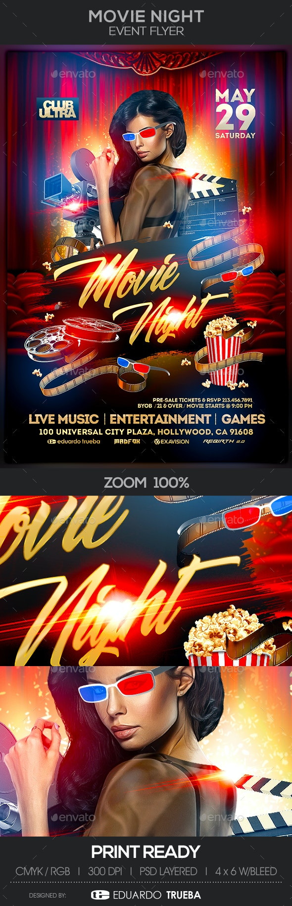 Movie Night Event Flyer - Events Flyers