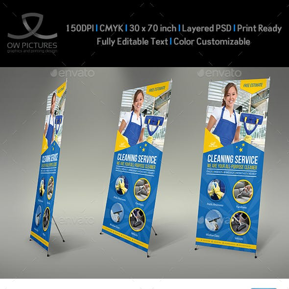 Cleaning Services Signage Banner Roll Up Template Vol.4