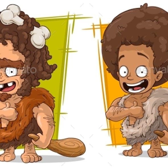 Cartoon Prehistoric Man Character Vector Set
